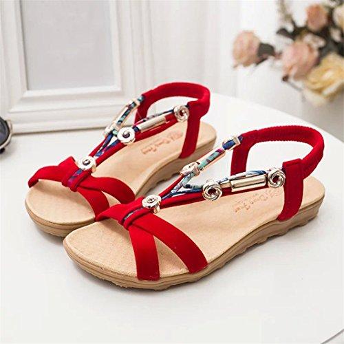 Vovotrade Femmes Sandales d'été Chaussures Peep-orteil Basse Chaussures Sandales Romaines Femmes Flip Flops Style RETRO Rouge