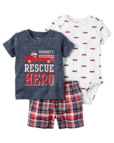 William Carter Baby Boy Kleidung 3Stück Shorts Windel Cover Set - rot -