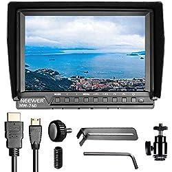 Neewer NW-760 Monitor de Campo Ultrafinos 7 pulgadas IPS 1080P HD 1920 x 1200 Píxeles apoyo de 4k entrada HDMI con Histograma La sobreexposición Prompting 16:10 Relación de Visualización para DSLR ( La fuente de energía del artículo y la batería no son incluidas)