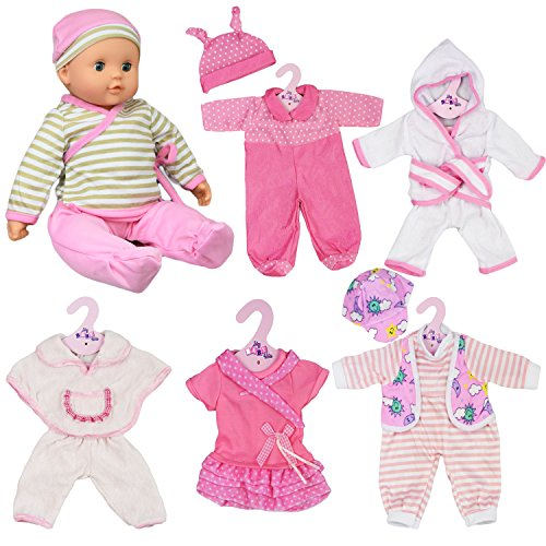 The Magic Toy Shop Set of 6 Dolls Clothes Outfits for 12 to 16 Inch New Born Baby Dolls - Rompers Pink Dress Bathrobe