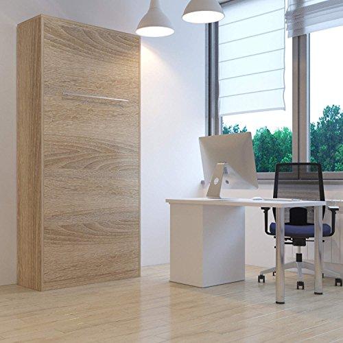 Hochkantbett Schrankbett Smartbett mit Matratze Foldaway bed 90 x 200 cm Vertikal Eiche Sonoma - 2