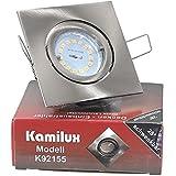 Einbauleuchte / Spot / Strahler Quajo in edelstahl-gebürstet inkl. Power SMD LED Leuchtmittel 5Watt GU10 230V neutralweiß/kaltweiß, Dimmbar mit einem herkömmlichen Lichtschalter, 3-Stufen Dimmung und Hochvolt GU10 Fassung