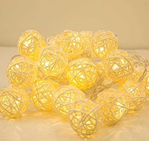 Battery Operated Hand Crafted Rattan Ball 30 LED 3 M