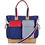 Doting Mums 10 Pocket Premium Diaper Bag Perfect Gift For New Moms With Boys Or Girls Babys Organiser Weekender Baby Bag Tote Style Nappy Bag Fashion Maternity Bag W/Changing Mat