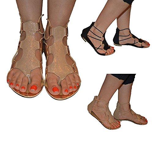 NEW Womens Mesdames Plat Style Gladiateur Sangle Plat Sandales Argent - argent