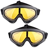 WEIZQ Winddicht Schutzbrille, 2er Schutzbrille Brille Goggles Anti-Fog Airsoft Taktische Militärische Schutzbrille für Außen Jagd Motorrad Fahrrad Radfahren Skifahren Nerf CS
