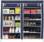 Happer Premium 12-Tiers Shoe Rack/Multipurpose Storage Rack with Dustproof Cover, (Blue)