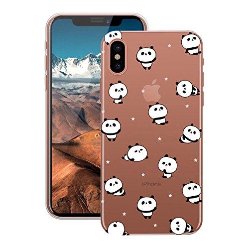 Yokata Cover per iPhone 8 Pittura Trasparente Custodia gel Silicone TPU Thin Fit Sottile Robusto Case Molle di Flessibile Morbido Protezione Backcover Gomma Bumper Protettiva Shell Painting Caso per i Panda
