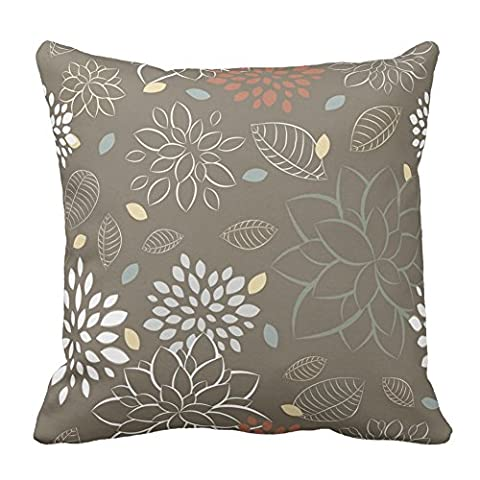 Light Color Flowers and Leaf Design Pattern Floral Printed Cushion Cover Throw Pillow Case Zipper