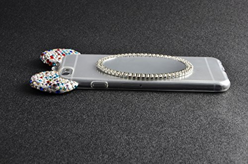 iphone 6 Plus 6S Plus Custodia in Gel TPU Silicone Cover Morbida Trasparente Protettiva TPU Case e Lanyard Colorful Bling Cristallo Diamante Strass Orecchie di Topolino Case Resistente ai Graffi Anti  Trasparente 11