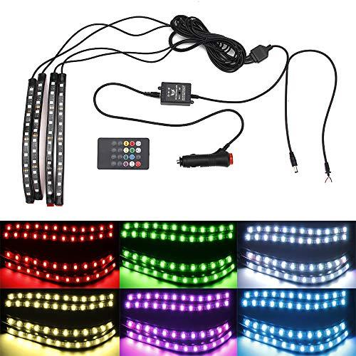 12V LED s'allument de Dimmable ambiant allumant l'ambiance de voiture de RVB LED imperméable avec le contrôle de musique et l'allumeur de cigarette
