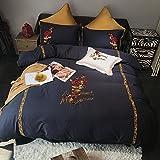 Vierteilige Reihe von Amerikanischen Satin aus Reiner Baumwolle 1.8m Baumwolle Stickerei Reine Farbe Quilt Bettwäsche-E 220x240cm(87x94inch)