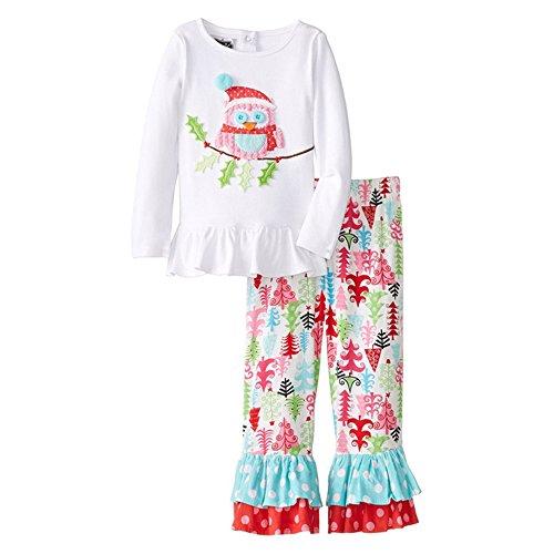 Pettigirl Kleine Mädchen Weihnachten Pyjamas Outfits Eule 3D-Muster drucken Set Volants Top + ausgestellte Hosen Set, Weiß, 90CM