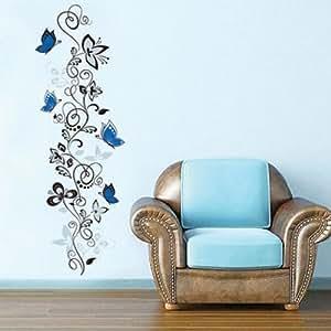 Papillons bleus et vignes pendues sticker mural