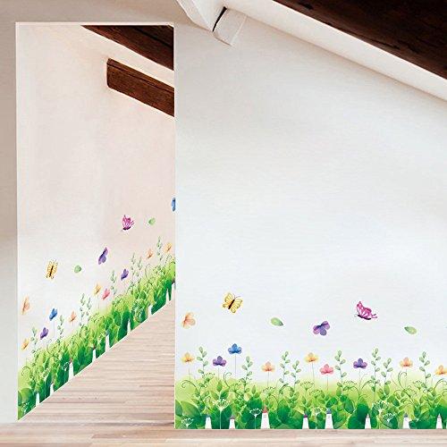 Odjoy-fan fai da te pianta adesivo rimovibile casa famiglia murale art home decor-opera d'arte della cucina erba battiscopa wall sticker da parati casa decorazione del partito decalcomanie soggiorno