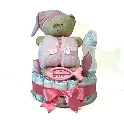 Tarta de pañales Dodot - Osito con manta rosa - Mil Cestas
