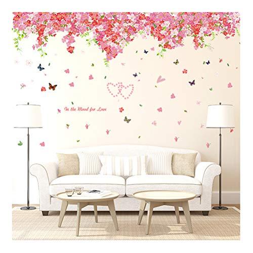 Kuke Wandtattoo Kirschblüte Blume Reben Schmetterling Abnehmbare DIY Wand-Aufkleber Wandsticker für Kinder Mädchen Kinderzimmer Schlafzimmer (2.37m(W) x0.92m(H))