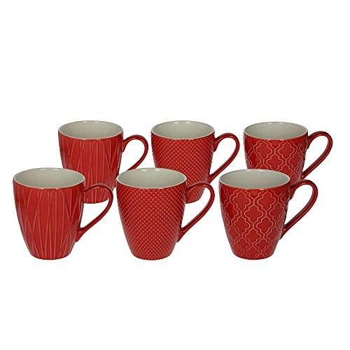 6er Set Kaffeebecher / Kaffeetasse / Becher / MUG aus Keramik, 430 ml., in rot, mit...