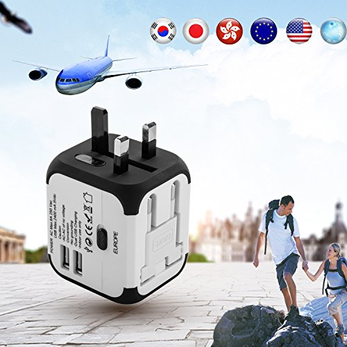 Uvistar 165009 4-in-1 Reiseadapter (3 polig, 150 Länder, mit USB) Weiß