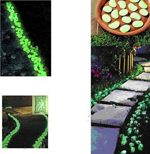 100 piezas calientes varicela brillo en la oscuridad guijarros piedras para jardín portazgo azul cielo