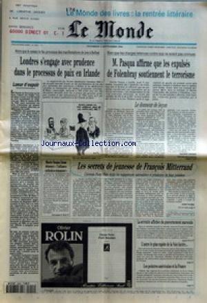MONDE (LE) [No 15427] du 02/09/1994 - LUEUR D'ESPOIR -
