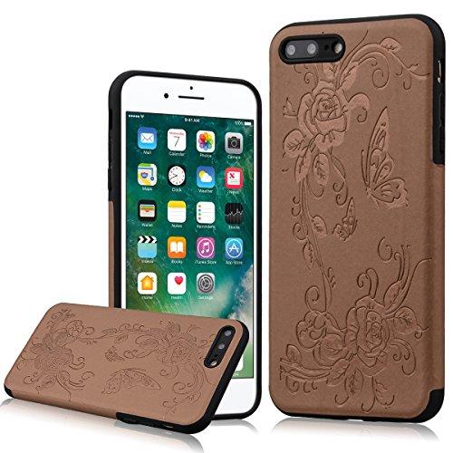 WE LOVE CASE iPhone 7 Plus Hülle Weich Silikon iPhone 7 Plus 5,5 Schutzhülle Handyhülle Im Spannung Schmetterling Braun Muster Handytasche Cover Case Etui Soft TPU Handy Tasche Schale Schlank Backcove Schmetterling Braun