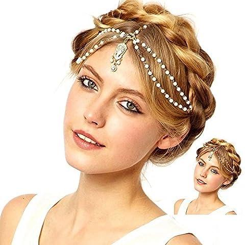 BOBIJOO Jewelry - Bijou de Tête Perles avec Pendentif Frontal Chaine Strass Dorée Headband Blanc ou Rouge Hairband - Ajustable, Rouge