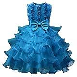 GUOCU Mädchen Kleid Perlen Blumenmädchen Tutu Kleider Hochzeit Partykleid Festlich Kleid Festzug Blau 110