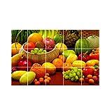 Decor Kafe Vinyl Waterproof Kitchen Veg and Fresh Fruits Wall Sticker (91 cm x 60 cm)
