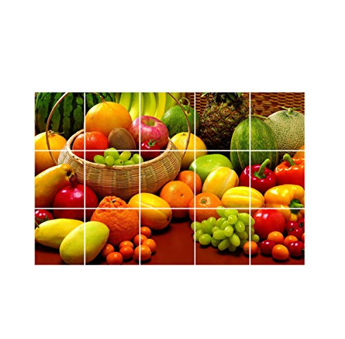 Sticker Hub Waterproof Kitchen Veg and Fresh Fruits Wallpaper/Wall Sticker Multicolour - Kitchen Wall Coverings Area (60Cm X 91Cm)
