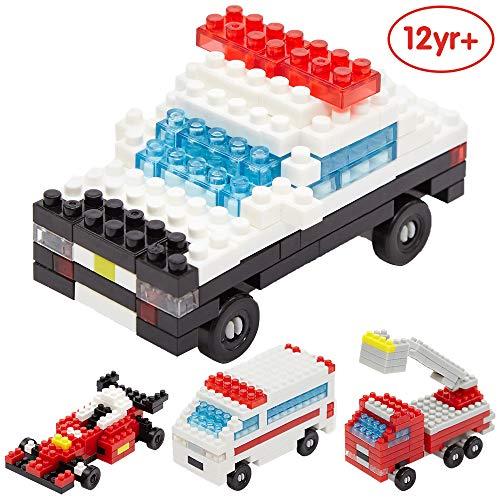 ANIKI TOYS Micro Building Blocks-4 Zeichen Micro Nano Blöcke Minifiguren Ziegel Set - Kinderspielzeug DIY Montieren (Polizeiauto, Löschfahrzeug, Krankenwagen, Rennfahrer) (Rennfahrer Lego Minifigur)