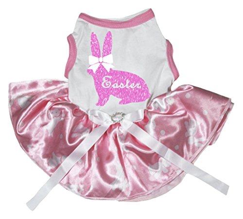petitebelle Pet Supply Ostern Schleife pink Bunny weiß TOP Hase Dots rosa Tutu (Häschen Kaninchen Kostüm Für Hunde)