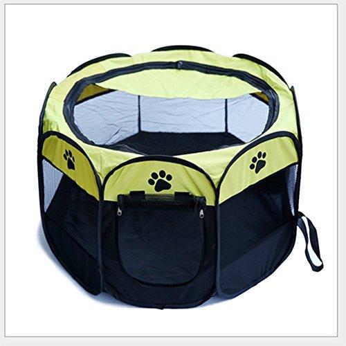 MUJING Haustier Hund Katze Laufstall Käfig Kiste - Portable Folding Übung Kennel - Indoor & Outdoor Verwenden,Yellow,L -