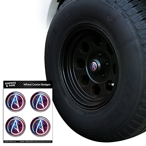 Atheist Atheismus Symbol in Space Tire Rad Center Gap resin-topped Abzeichen Aufkleber–6,1cm (6,1cm) Durchmesser