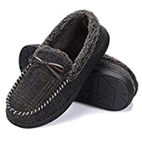 K KomForme Men Slippers, Cozy Memory Foam Wool Check Slippers with Fuzzy Plush Wool-Like Lining, Slip on House Shoes with Indoor Outdoor Anti-Skid Rubber Sole