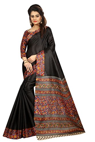 Clothsfab Women's Khadi Silk Sarees With Blouse Piece (Kalamkari....05_Black)