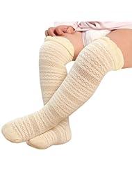 SHOBDW Color Claro Largo Calcetines Antideslizantes para Bebés Niño Niña 0-3 Años (Amarillo, S)