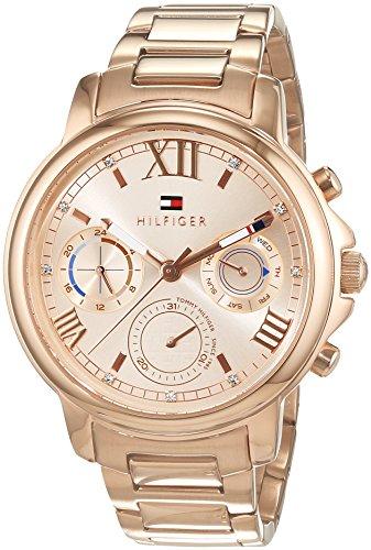 Tommy Hilfiger Damen Analog Quarz Uhr mit Edelstahl beschichtet Armband 1781743
