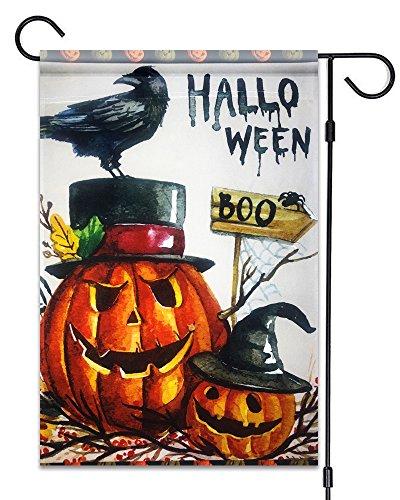 n Boo Garten Flagge Fahne Deko 30,5x 45,7cm Halloween-Kürbisse und Krähe Kleine Größe Banner ()