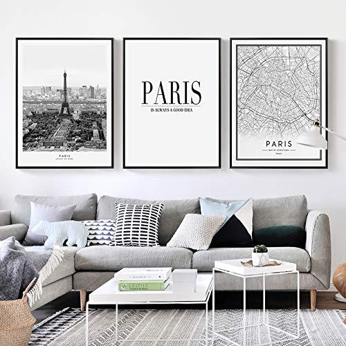 Nordic Poster Schwarz Weiß Paris Landschaft Leinwand Malerei Stadtplan Zitat Kunstdruck Wandbild Wohnzimmer Dekoration Malerei 3 stücke 13x18 cm Kein Rahmen