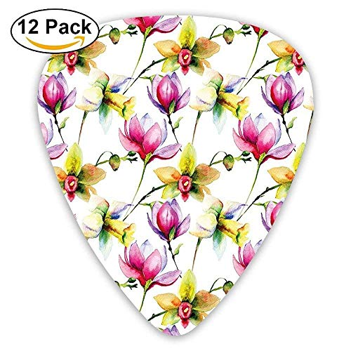 2 Magnolia Blossom (Blurry Hazy Toned Vibrant Magnolia Flower Daffodil Petals Blossoms Guitar Picks 12/Pack)