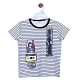 CHIMPRALA White Half Sleeves Round Neck Striped & Printed Tshirt for Boys for 6-7 years