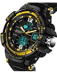 QBD Convertisseur garçons filles montre numérique Sport avec alarme chronomètre chronographe–50m étanche–Boîte Cadeau de Luxe Doré (G)