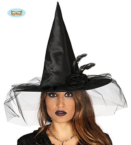 Guirca cappello da strega con velo e piume per adulti, nero, taglia unica, 13148