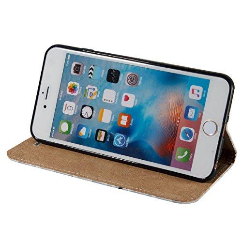 Coque pour iPhone 6 Plus, Etui pour iPhone 6S Plus, ISAKEN Peinture Style PU Cuir Flip Magnétique Portefeuille Etui Housse de Protection Coque Étui Case Cover avec Stand Support et Carte de Crédit Slo carte