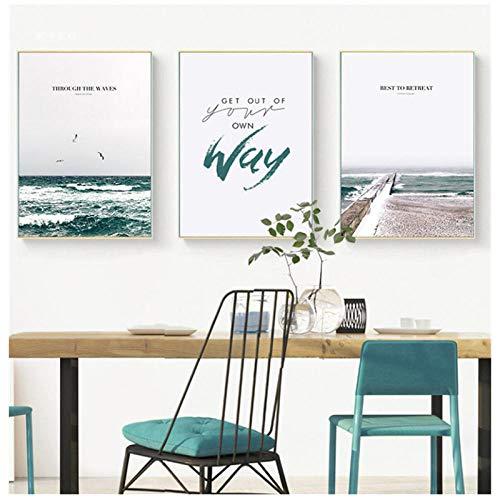 Cuadro en Lienzo Impresión y póster Minimalista Paisaje Marino Faro de Arte Imagen Decorativa Sala de Estar Decoración para el hogar 40 × 60 cm × 3 Sin Marco
