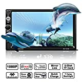 Auto Radio MP5 Spieler, OCDAY Universal 7'' 2 Din FHD 1080P Touchscreen Bluetooth USB/ TF/ FM/ AM/RDS radio tuner/ Aux in/ Mirrorlink Auto Radio Audio...