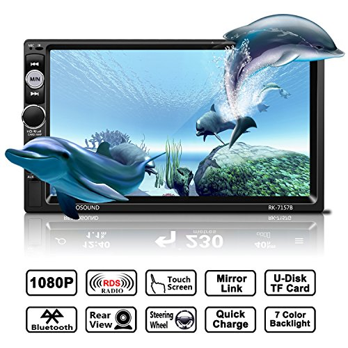 Auto Radio MP5 Spieler, OCDAY Universal 7'' 2 Din FHD 1080P Touchscreen Bluetooth USB/ TF/ FM/ AM/RDS radio tuner/ Aux in/ Mirrorlink Auto Radio Audio Multimedia MP5 Spieler mit Rückfahrkamera (Auto Usb-spieler)