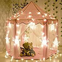 Tiendas para Niños, JoysoulEU portátil al aire libre portátil grande con luces LED de la estrella, juguetes de interior perfecto regalo para niños pequeños (Rosa)