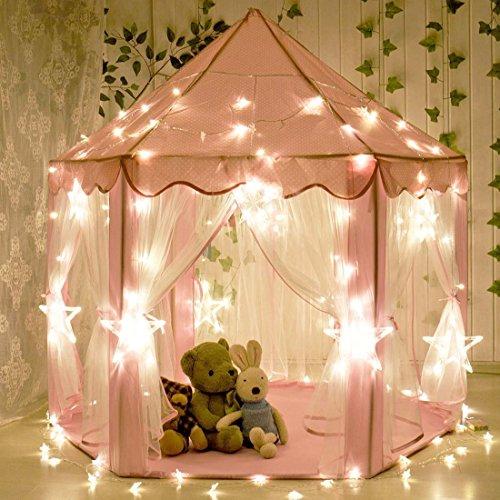 Kinder Indoor Prinzessin Castle Spielzelte, Sanmersen Outdoor Portable Großes Spielhaus mit LED Star Lights, Perfect Indoor Spielzeug Geschenk für Kinder Kleinkinder (Kleinkind Ideen Dress Up)